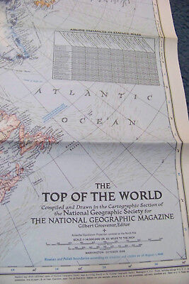 National Geographic TOP OF THE WORLD MAP North Pole Hemisphere AK Russia Canada
