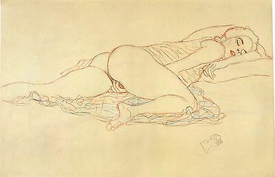 Gustav Klimt Drawings: Reclining Nude Facing Right - Fine Art Print