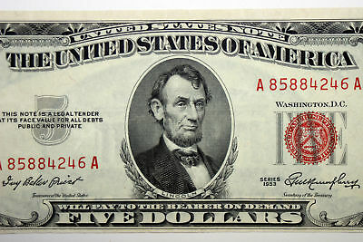 Up for Sale is One $5.00 About Uncirculated 1953 United States Note (A85884246A)
