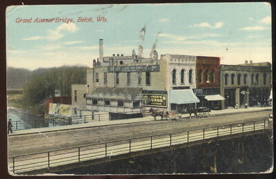 Early Picture Post Card, Grand Ave. Bridge, Beloit, Wi. Stores & Cigars Signage