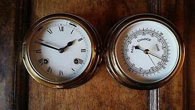 Vintage Schatz Brass Ships 8 Day Clock & Barometer - Royal Mariner Germany