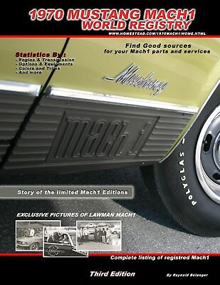 1970 Mustang Mach1 World Registry Book last edition - Listing and statistics