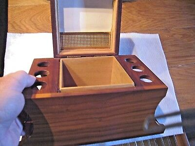 Vintage Decatur Tobacco Humidor and 6 pipe rack - Genuine Black Walnut USA