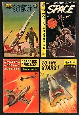 CLASSICS ILLUSTRATED 4 Comics SPACE Rockets Jet Missles TO THE STARS Adv Science