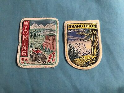 2 New Rare Vintage Wyoming & Grand Teton National Park Material Patches