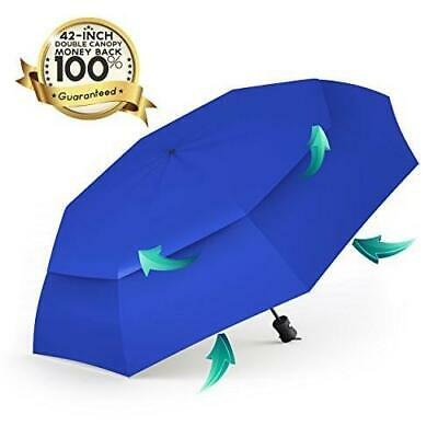 Procella Windproof Travel Umbrella Compact Folding Auto Open Close Portable UV