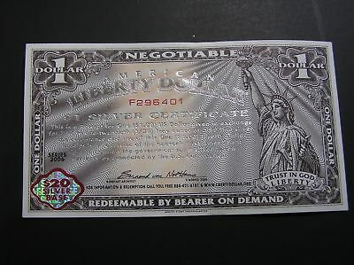 $1 Liberty Dollar Silver Certificates - New, Uncirculated condition!