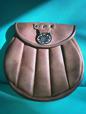 Handmade Genuine Leather Ribbed Sporran!  Brown Handcrafted USA!