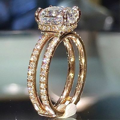Sparkling Women 14K Gold Plated White Sapphire Ring Engagement Wedding Jewelry