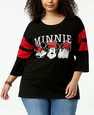 74add2b196b Disney NEW Plus Women s sz 1X Cotton Minnie Mouse Graphic Black T-Shirt Top