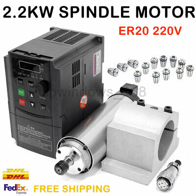 2.2KW Spindle Motor ER20 Air-cooled 4Bearing 24000RPM & VFD Inverter Driver Set