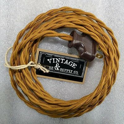 Antique Bronze - Cloth Covered Rewire Lamp Cord - Wire & Plug - Vintage Light -