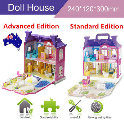Girls Doll House Play Set Pretend Play Toy for Kids Pink Dollhouse Children GB