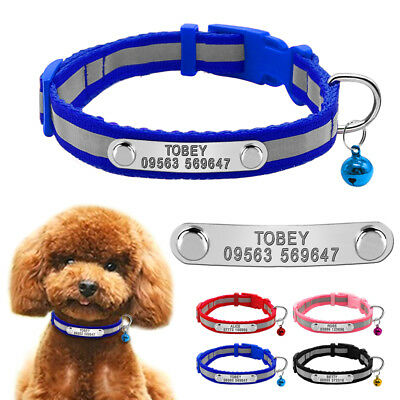 Small Personalised Dog Collar Reflective Pet Cat Engraved Nameplate&Bell Yorkie
