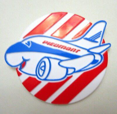 """Vintage Piedmont Airlines Plastic Pinback Pin 2.25"""" Airplane Red White Blue"""