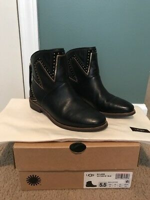 13698bba6c0 UGG LARS BLACK Leather Booties Starburst Studded 11 42 SOLD OUT $225 ...