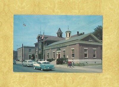 CT Winsted 1950-60s postcard POST OFFICE Vintage Automobiles Conn