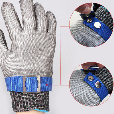 Safety Cut Proof Stab Resistant Stainless Steel Gloves Metal Mesh Butcher L  UQ