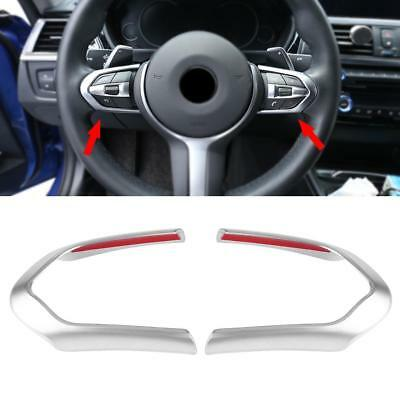 2x Chrome Car Steering Wheel Cover Trim For BMW F20 F22 F30 F32 F10 F06 F15 F16