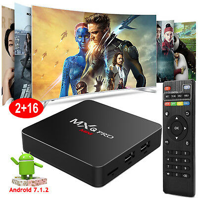 2+16GB Android 7.1 MXQPROmini S905W Quad core 4K H.265 Media Smart TV BOX WIFI