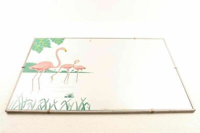 Vintage Mid Century Retro Pink Flamingo Wood Frame Wall Mirror