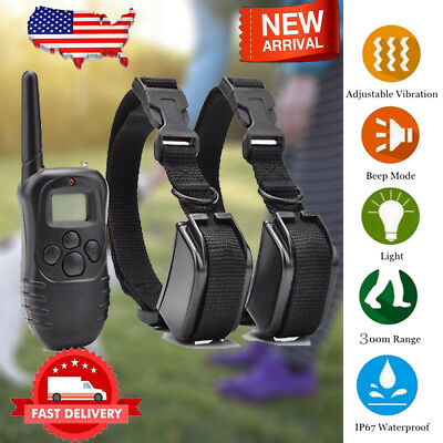 300M Remote Pet Dog Training Anti-bark Collar LCD Electric Shock Vibration Beep