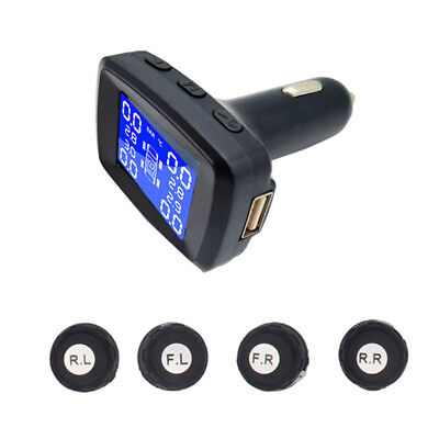 Wireless TPMS Car Tire Pressure Monitoring Alarm System with 4 External Sensor