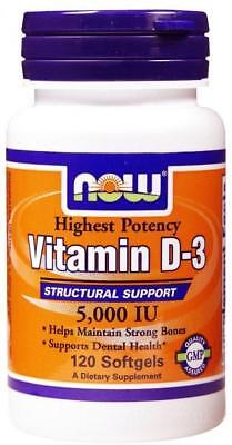NOW Foods Vitamin D-3 - 5000 IU 120 or 240 softgels for strong teeth and bones