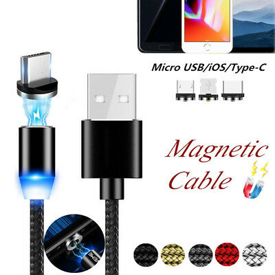2.4A Fast Magnetic USB Cable 360° Round LED Braid Adapter For Samsung iPhone