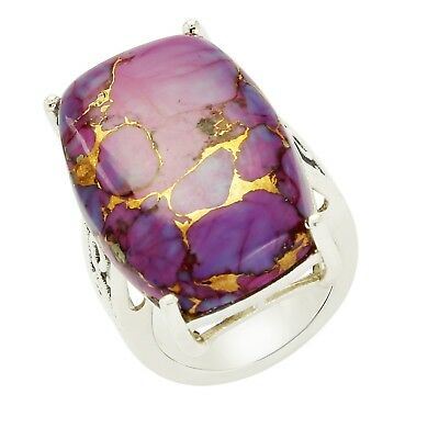 American Purple Copper Turquoise Huge Statement 925 Sterling Silver Wedding Ring
