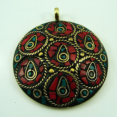 Tibetan Solid Brass Turquoise & Red Coral Gemstone Vintage Nepali Pendant 1744