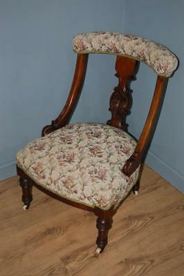 Antique Victorian Tapestry Nursing Chair, Bedroom Chair, Hall Chair