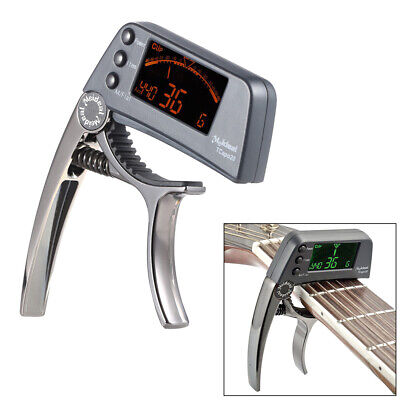 TCapo20 Alloy Guitar Capo Tuner LCD for Acoustic Folk Electric Guitar Bass K7D4