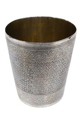 Lovely Antique Indian Silver Cup, Floral Motif, Finely Engraved, C. 1860/1870
