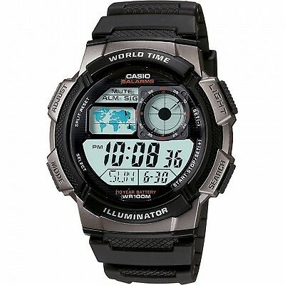 Casio Mens Calendar Day/Date Watch w/Round Digital Dial and Black Band
