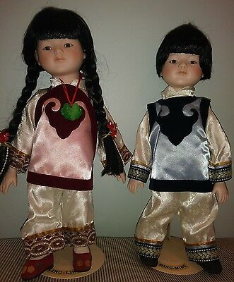 Adorable Vintage Pair of Chinese Porcelain Dolls - 15 inches.