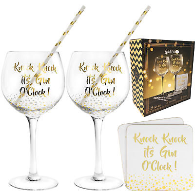 Gin Cocktail Glass Gift Set With Coasters Straws Novelty Xmas New Champagne Wine