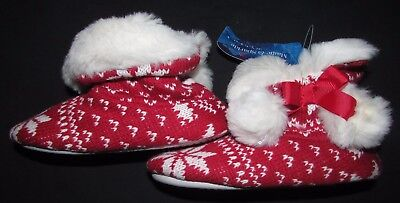 New Girls Slippers Boots Size 11 Eur 29 Marks & Spencer Red Christmas Furry