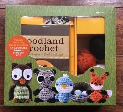 Woodland Critters Crochet Kit Make Fawn & Fox Includes 12 Project Ideas