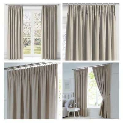 Beige Blackout Curtains Dijon Tape Top Thermal Lined Pencil Pleat Curtain Pairs