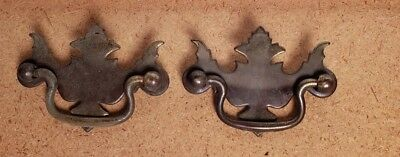 "Pr Vintage Brass Plated Metal Chippendale Style Drawer Pulls 2 1/2"" Ctr To Ctr C"