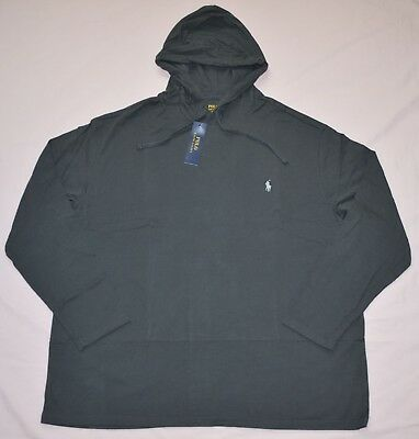 New Large Polo Ralph Lauren Mens hooded T-shirt hoodie Tee gray black cotton top