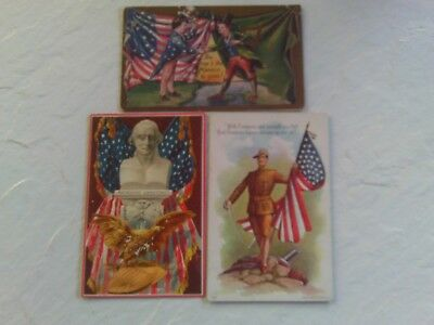 3 GROUP LOT 1910s EMBOSSED POSTCARDS MILITARY FLAGS STARS 4th OF JULY LOOK