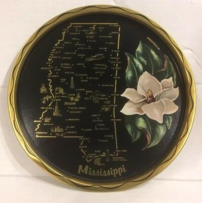 VTG State of MISSISSIPPI Round Metal Serving Tray Map Magnolia Souvenir