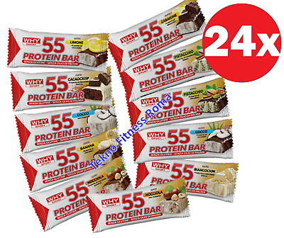 Why Sport Protein Bar 24 Barrette Proteiche da 55 gr con Glutammina e Creatina