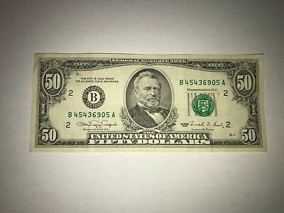 1990 $50 USD Fifty Dollar Bill Circulated Banknote - Old Money
