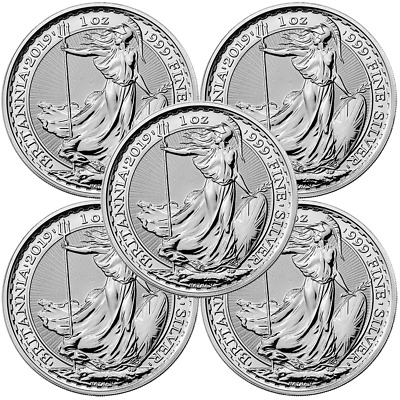 Lot of 5 - 2019 U.K. 2 Pound Silver Britannia .999 1 oz Brilliant Uncirculated
