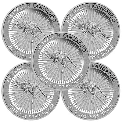 Lot of 5 - 2019-P $1 Silver Australian Kangaroo 1 oz Brilliant Uncirculated