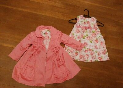PRETTY pink floral DRESS &MATCHING COAT AGE 2 years worn twice by Polly Flinders