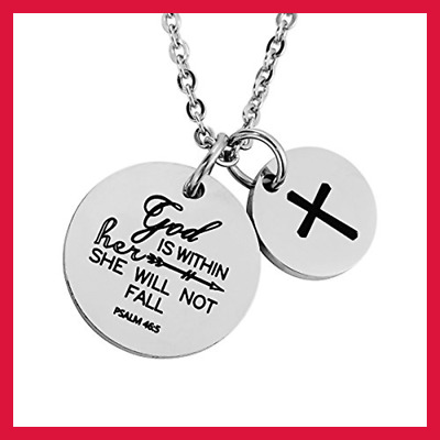 Christian Necklace Bible Verse Pendant Prayer Charm For Women Girls God Is Withi